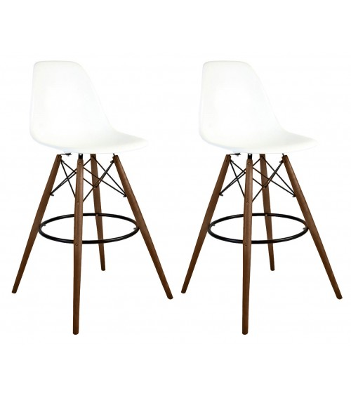 Set of 2 30 Inch DSW White Plastic Bar Stool with Dark Walnut Eiffel Legs
