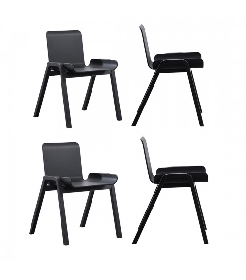 4 x CozyBlock Medi Series Sidechairs with Black Wood Legs, Contemporary Accent Chair, Great for Home Office, Dining Room and Living Room