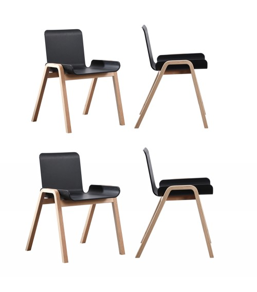 4 x CozyBlock Medi Series Sidechairs with Natural Wood Legs, Contemporary Accent Chair, Great for Home Office, Dining Room and Living Room