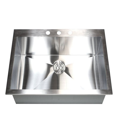 25 Inch Top-Mount / Drop-In Stainless Steel Single Bowl Kitchen Sink Zero Radius Design