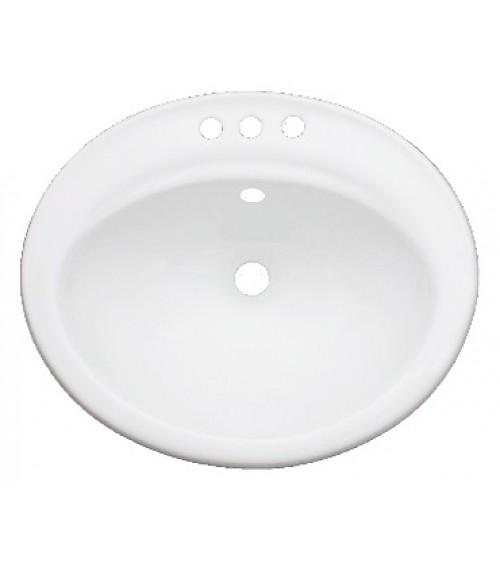 Porcelain Ceramic Vanity Drop In Bathroom Vessel Sink - 22-1/4 x 19 x 8 Inch