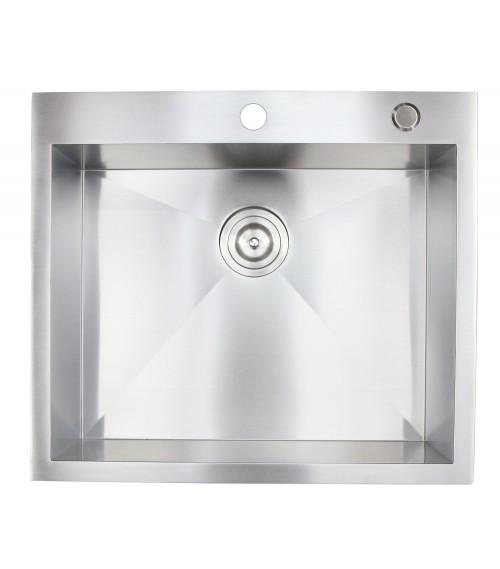 25 Inch Top-Mount / Drop-In Stainless Steel Single Bowl Kitchen Sink Zero Radius Design