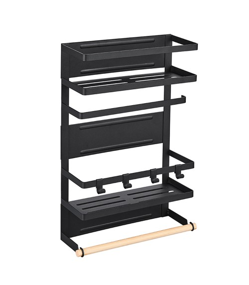 "11.8"" 2-Tier Black Magnetic Refrigerator Storage Rack, Kitchen Storage Organizer, Laundry Room Washing Machine Hanging Rack, Detergent Shelf, Multipurpose Storage Basket with Hanging Hooks, Towel Holder, Kitchen / Laundry Space Saver"