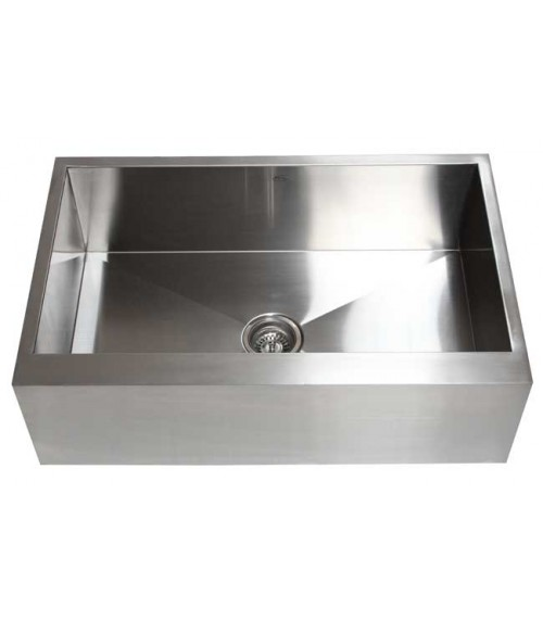 33 Inch Stainless Steel Flat Front Farm Apron Single Bowl Kitchen Sink Zero Radius Design