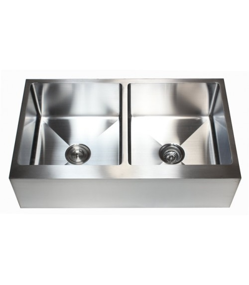 36 Inch Stainless Steel Flat Front Farm Apron 50/50 Double Bowl Kitchen Sink 15mm Radius Design