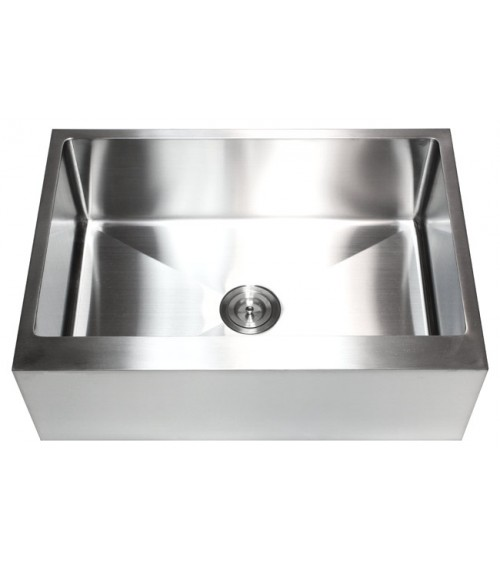 30 Inch Stainless Steel Flat Front Farm Apron Single Bowl Kitchen Sink 15mm Radius Design