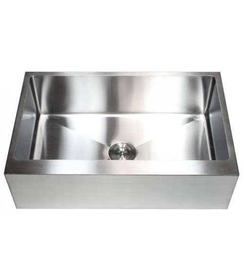 33 Inch Stainless Steel Flat Front Farm Apron Single Bowl Kitchen Sink 15mm Radius Design