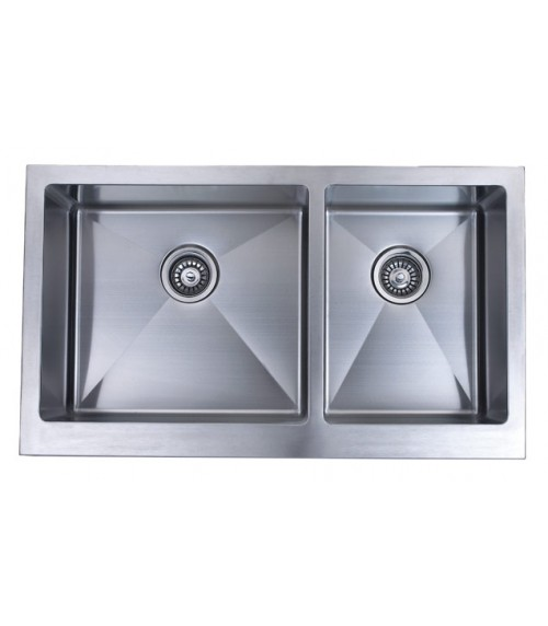 36 Inch Stainless Steel Flat Front Farm Apron 60/40 Double Bowl Kitchen Sink 15mm Radius Design