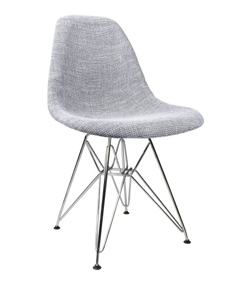Gray Woven Fabric Upholstered Mid-Century Eames Style Accent Side Dining Chair