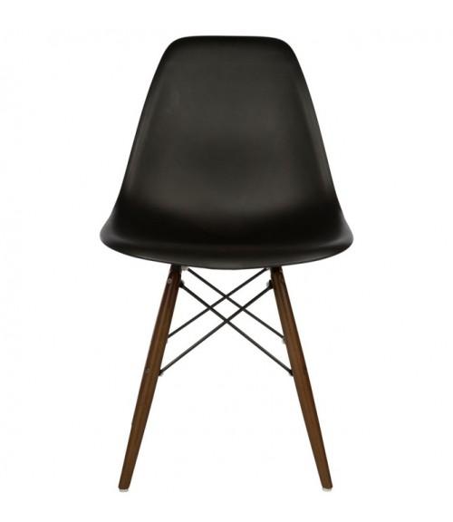 DSW Molded Black Plastic Dining Shell Chair with Dark Walnut Wood Eiffel Legs
