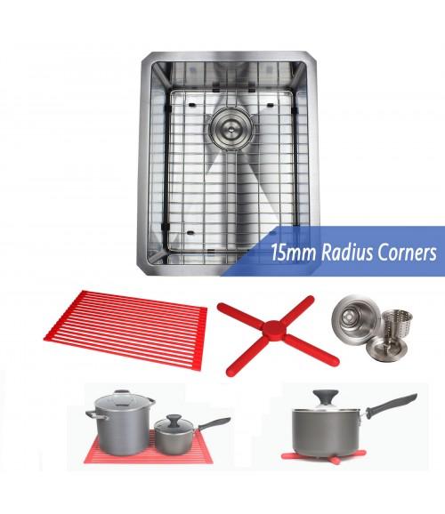 16 Inch 16 Gauge Undermount Single Bowl Stainless Steel Sink Premium Package 15mm Radius Design