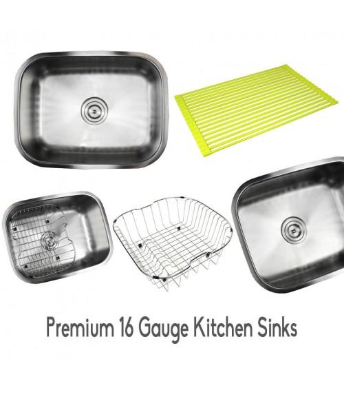 Pearl 23 Inch Premium 16 Gauge Stainless Steel Undermount Single Bowl Kitchen Sink with FREE ACCESSORIES