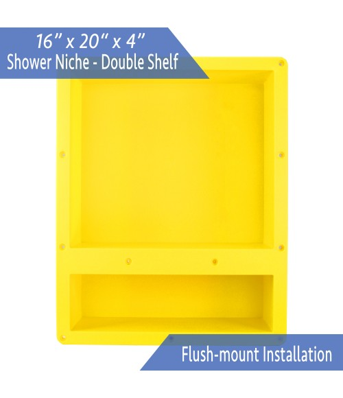 "Ready For Tile Waterproof Leak Proof 16"" x 20"" Square Bathroom Recessed Shower Niche - Single Bathroom Shelf Organizer Storage For Shampoo & Toiletry Storage - Flush Mount Installation"