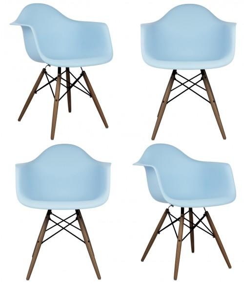 Set of 4 DAW Molded Light Blue Plastic Dining Armchair with Dark Walnut Wood Eiffel Legs