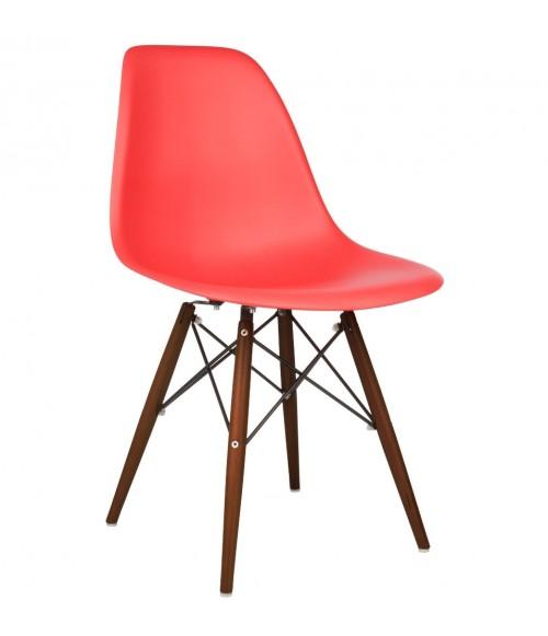 DSW Molded Red Plastic Dining Shell Chair with Dark Walnut Wood Eiffel Legs