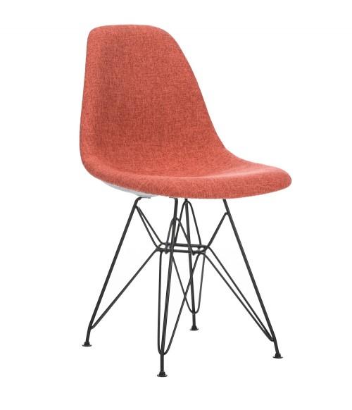 CozyBlock Scarlet Series Marvelous Full Velvet Fabric Upholstered Side / Dining Accent Chair in Orange with Black Steel Leg
