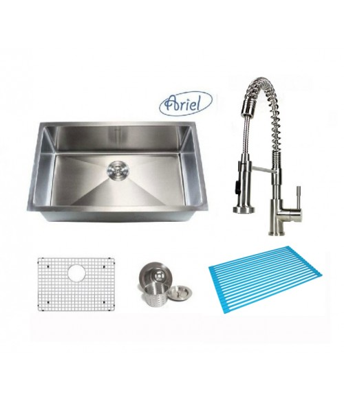 Ariel 30 Inch Single Bowl 15mm Radius Design Kitchen Sink and Coil Spring Stainless Steel Faucet Combo