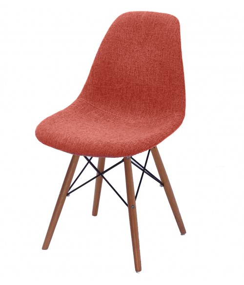 CozyBlock Scarlet Series Full Velvet Fabric Upholstered Side / Dining Accent Chair in Orange with Natural Beech Wood Eiffel Leg