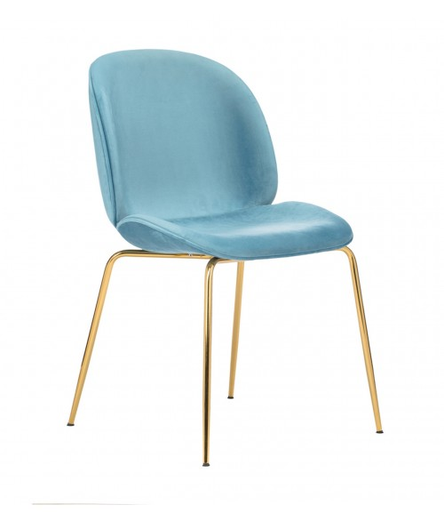CozyBlock Pony Series Glamorous Velvet Upholstered Side / Dining Accent Chair in Turquoise with Polished Gold Chrome Legs
