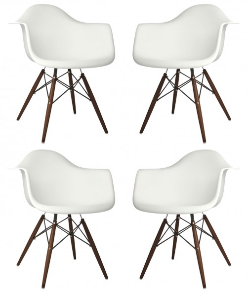 Set of 4 DAW Molded White Plastic Dining Armchair with Dark Walnut Wood Eiffel Legs