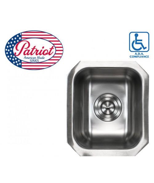 14 Inch Patriot Premium 18 Gauge Stainless Steel Undermount Single Bowl Kitchen / Bar / Prep Sink