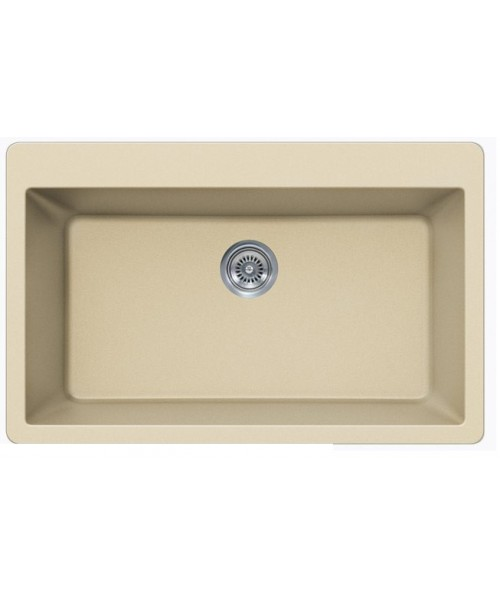 Beige Quartz Composite Single Bowl Undermount / Drop In Kitchen Sink - 33 x 21 x 9 Inch