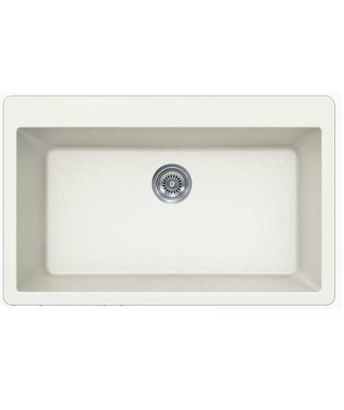 White Quartz Composite Single Bowl Undermount / Drop In Kitchen Sink - 33 x 21 x 9 Inch