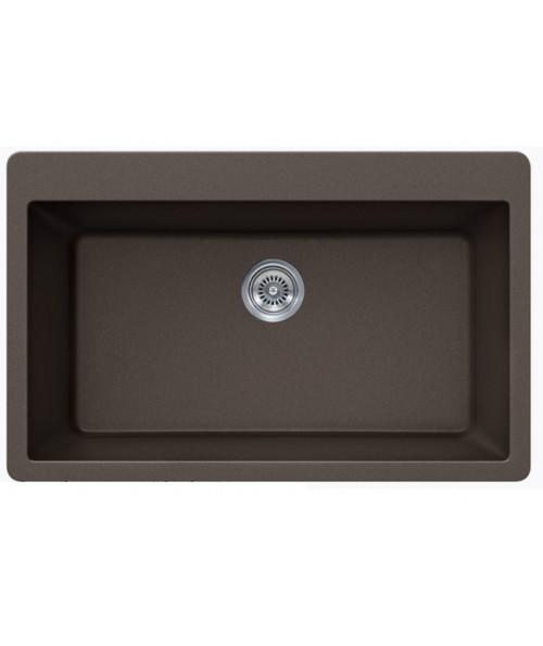 Mocha Quartz Composite Single Bowl Undermount / Drop In Kitchen Sink - 33 x 21 x 9 Inch