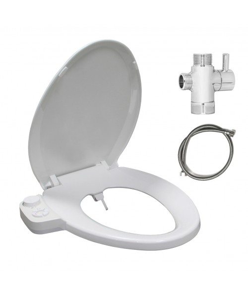 Soft Close Hygienic Dual Nozzles Non-Electric Bidet Elongated Toilet Seat in White with On/Off Brass T Adapter | Rear & Feminine Wash | Water-Powered & Save Paper Eco-friendly| Adjustable Water Pressure and Easy