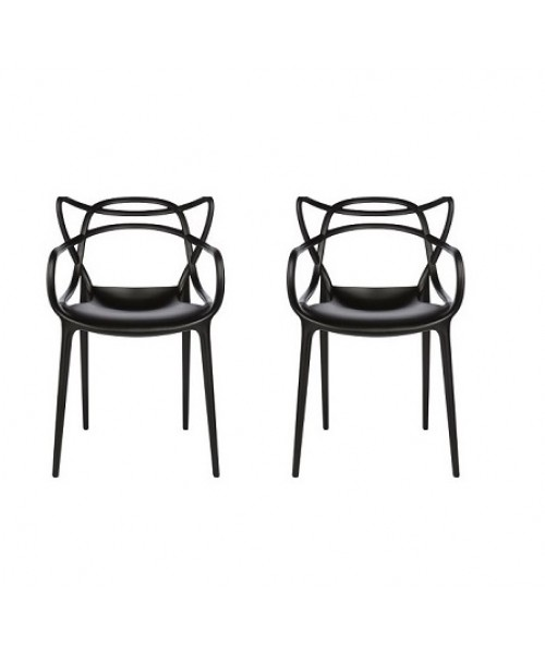 Set of 2 Modern Masters Designer Dining Chair In Black