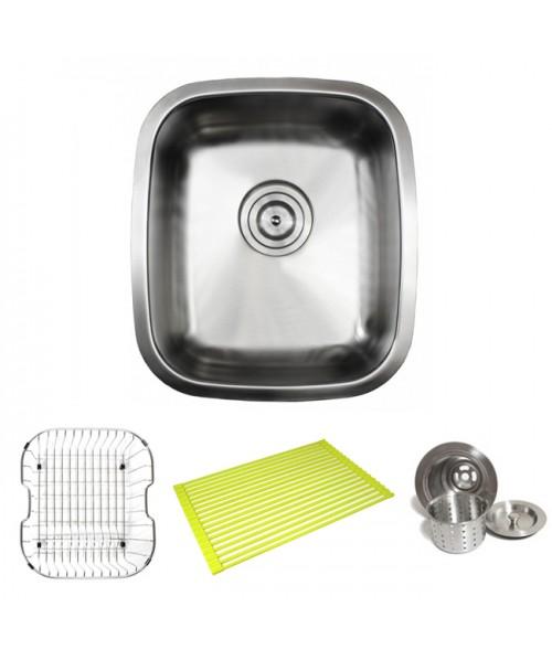 Pearl 15 Inch Stainless Steel Undermount Kitchen / Bar / Prep Sink with ACCESSORIES