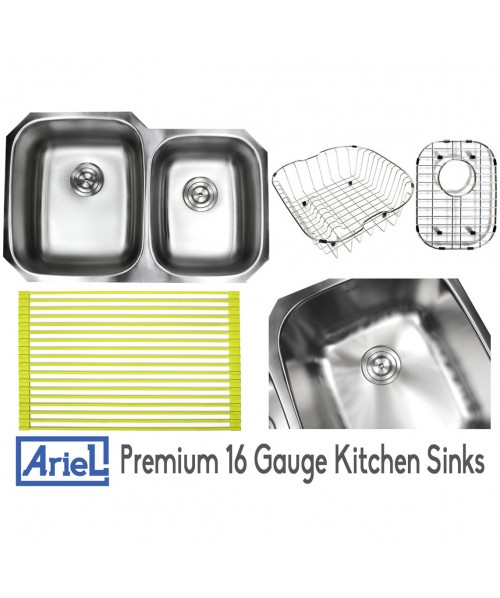 Ariel Pearl 32 Inch Premium 16 Gauge Stainless Steel Undermount 60/40 Double Bowl Kitchen Sink with FREE ACCESSORIES