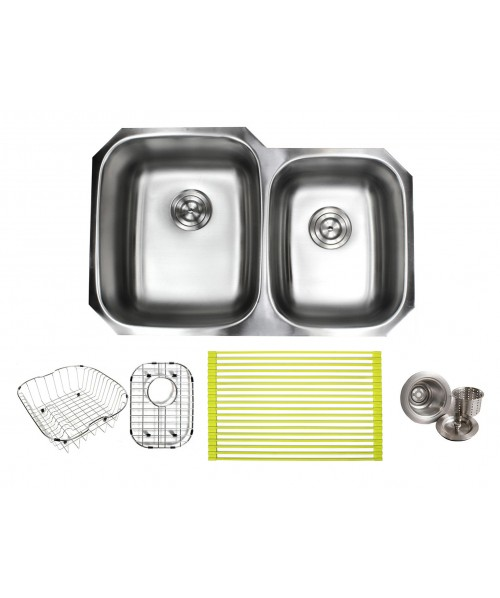 Pearl 32 Inch Premium 16 Gauge Stainless Steel Undermount 60/40 Double Bowl Kitchen Sink with FREE ACCESSORIES