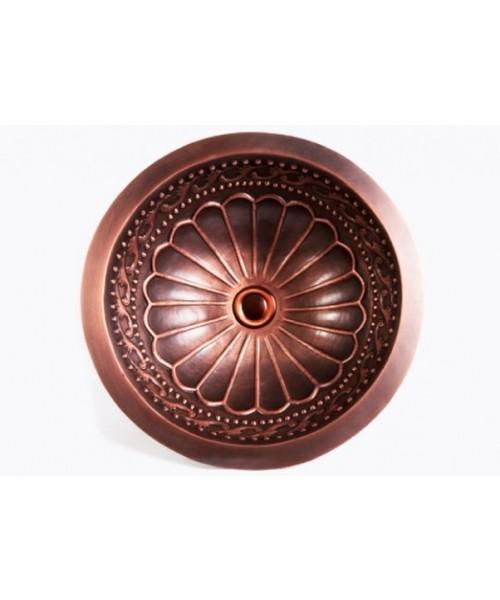 Round Hammered Garden Pattern 16 Gauge Copper Undermount / Drop In Bathroom Sink - 16-1/2 x 6 Inch
