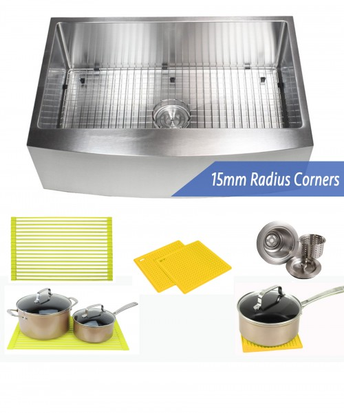 33 Inch 16 Gauge Curved Front Apron Single Bowl Stainless Steel Kitchen Sink Premium Package 15mm Radius Design