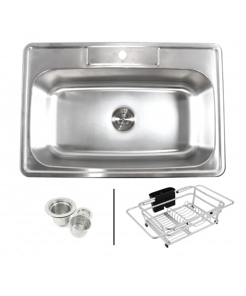 Topmount Drop-In 18-Gauge Stainless Steel 33 in. x 22 in. x 9 in. 1 Faucet Hole Single Bowl Kitchen Sink with Expandable Dish Rack and Strainer