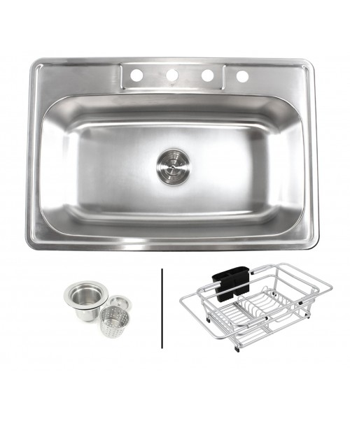 Topmount Drop-In 18-Gauge Stainless Steel 33 in. x 22 in. x 9 in. 4 Faucet Hole Single Bowl Kitchen Sink with Expandable Dish Rack and Strainer