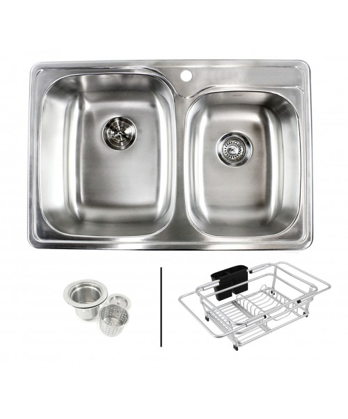 Topmount Drop-In 18-Gauge Stainless Steel 33-1/8 in. x 22 in. x 9 in. 1 Faucet Hole 60/40 Offset Double Bowl Kitchen Sink with Expandable Dish Rack and Strainer