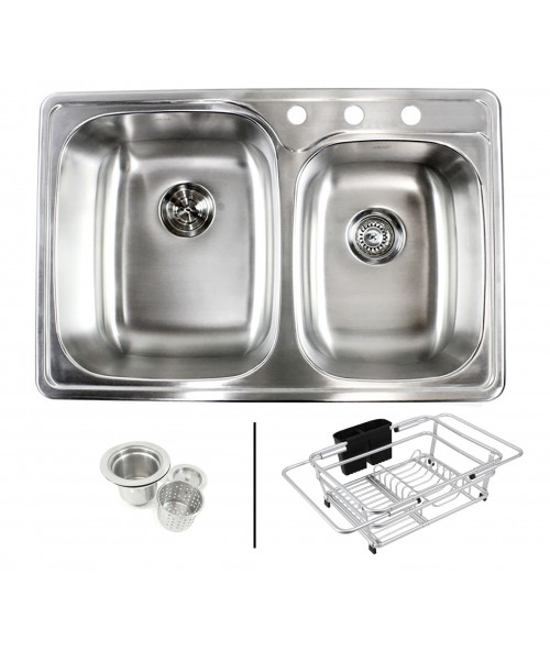Topmount Drop-In 18-Gauge Stainless Steel 33-1/8 in. x 22 in. x 9 in. 3 Faucet Hole 60/40 Offset Double Bowl Kitchen Sink with Expandable Dish Rack and Strainer