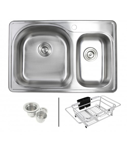 Topmount Drop-In 18-Gauge Stainless Steel 33 in. x 22 in. x 8-1/4 in. 1 Faucet Hole 70/30 Offset Double Bowl Kitchen Sink with Expandable Dish Rack and Strainer