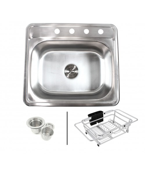 Topmount Drop-In 18-Gauge Stainless Steel 25 in. x 22 in. x 9 in. 4 Faucet Hole Single Bowl Kitchen Sink with Expandable Dish Rack and Strainer