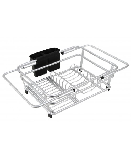 CozyBlock Expandable Aluminum Dish Drying Rack with Utensil Holder- Rust Proof Kitchen Dish Rack