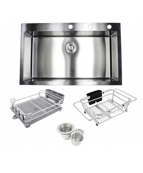 33 in. x 22 in. x 10 in. Premium 16-Gauge Stainless Steel Topmount Drop-In Single Bowl Kitchen Sink in Brushed Stainless Steel Finish with Expandable Dish Rack, Countertop Dish Rack and Strainer