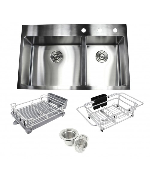 33 in. x 22 in. x 10 in. Premium 16-Gauge Stainless Steel Topmount Drop-In 60/40 Offset Double Bowl Kitchen Sink in Brushed Stainless Steel Finish with Expandable Dish Rack, Countertop Dish Rack and Strainer