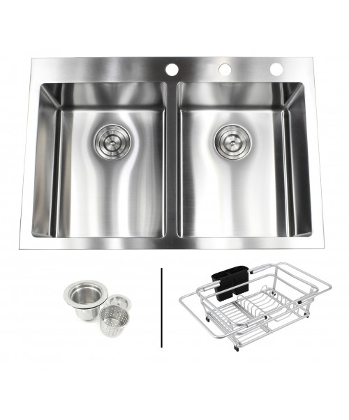 33 in. x 22 in. x 10 in. Premium 16-Gauge Stainless Steel Topmount Drop-In 50/50 Double Bowl Kitchen Sink in Brushed Stainless Steel Finish with Expandable Dish Rack and Strainer