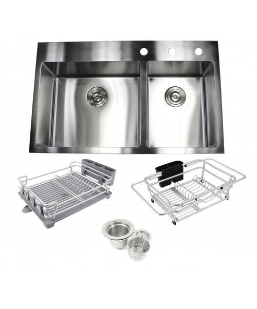 36 in. x 22 in. x 10 in. Premium 16-Gauge Stainless Steel Topmount Drop-In 60/40 Offset Double Bowl Kitchen Sink in Brushed Stainless Steel Finish with Expandable Dish Rack, Countertop Dish Rack and Strainer