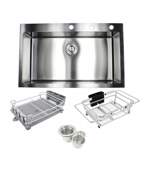 36 in. x 22 in. x 10 in. Premium 16-Gauge Stainless Steel Topmount Drop-In Single Bowl Kitchen Sink in Brushed Stainless Steel Finish with Expandable Dish Rack, Countertop Dish Rack and Strainer