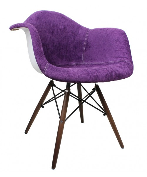 Purple Velvet Fabric Accent Arm Chair with Dark Walnut Wood Eiffel Legs