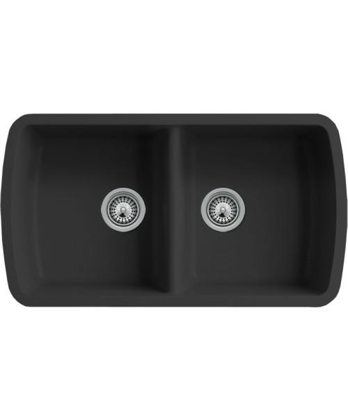 Black Quartz Composite 50/50 Double Bowl Undermount Kitchen Sink - 33-1/16 x 18-15/16 x 9-3/8 Inch