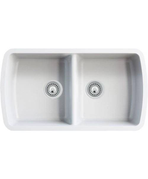 White Quartz Composite 50/50 Double Bowl Undermount Kitchen Sink - 33-1/16 x 18-15/16 x 9-3/8 Inch